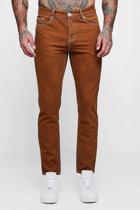 Rust Skinny Fit Rigid Jeans With Contrast Stitch
