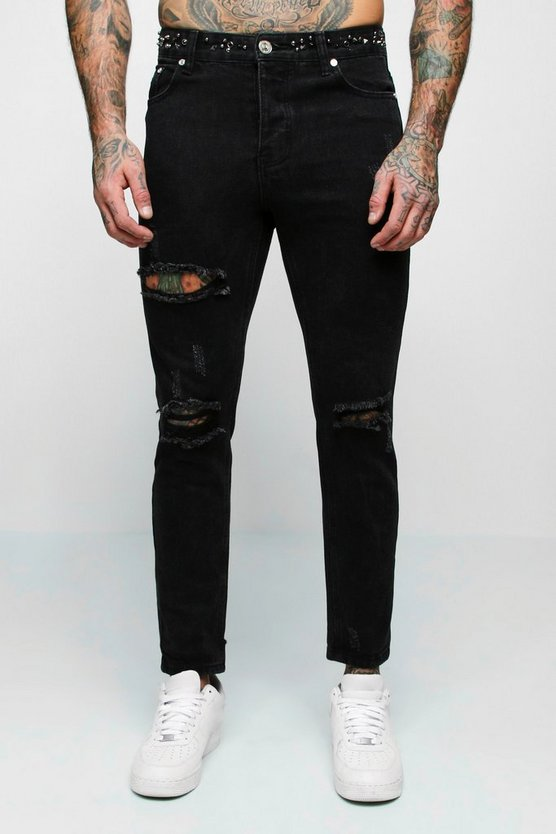 Black Skinny Fit Jeans With Embellished Waistband