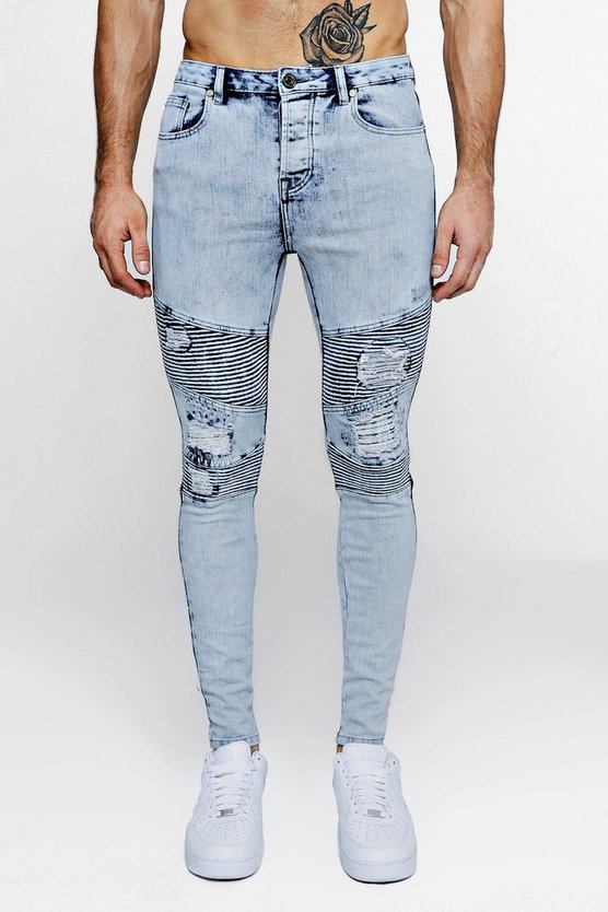 Pale blue Super Skinny Distressed Biker Jeans