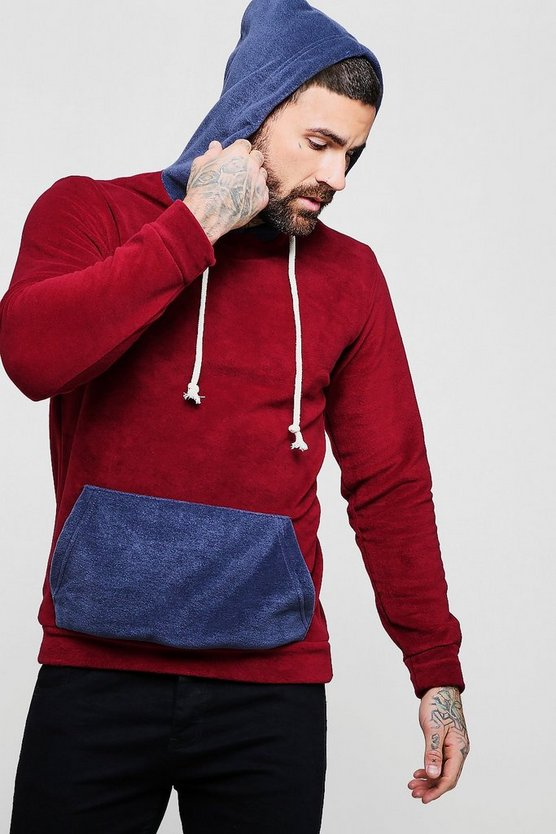 Burgundy Colour Block Fleece Over The Head Hoodie