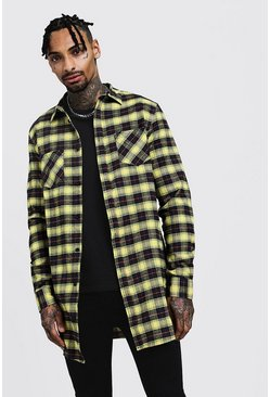 Long Sleeve Yellow Flannel Longline Shirt