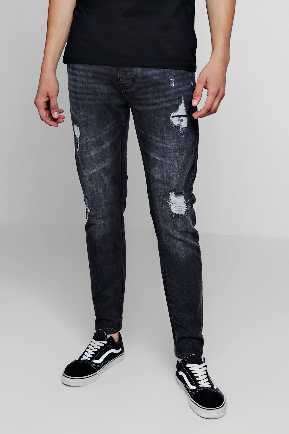 bd135e23dff3 Mens Charcoal Skinny Fit Jeans With Rip And Repair Detail