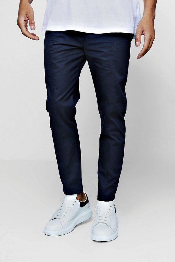 Navy Cotton Smart Jogger Style Chino Trouser