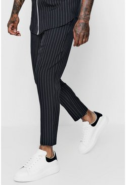 Mens Black Pinstripe Smart Jogger