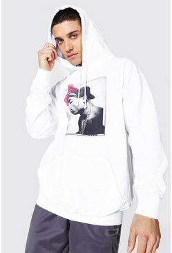 White Oversized Tupac Rose License Hoodie