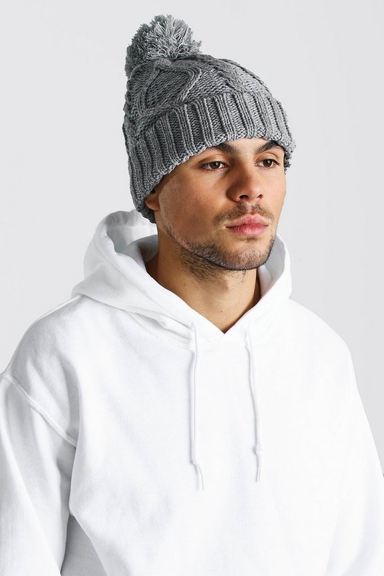 Mens Light grey Cable Knit Bobble Beanie