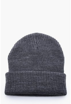 Mens Charcoal Rib Knit Beanie Hat