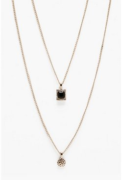 Gold Double Pendant Layer Necklace
