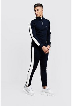 Mens Navy Funnel Neck Contrast Panel MAN Tracksuit