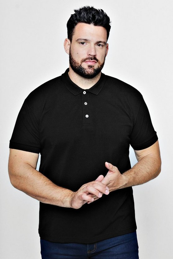 Black Big And Tall Short Sleeve Polo