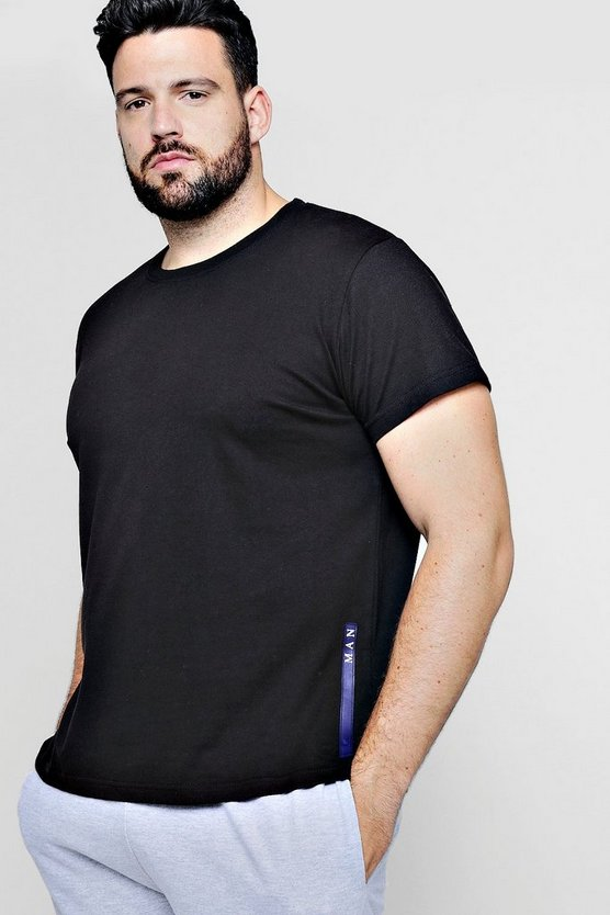 Mens Black Big And Tall MAN Sport Logo Placement T-Shirt