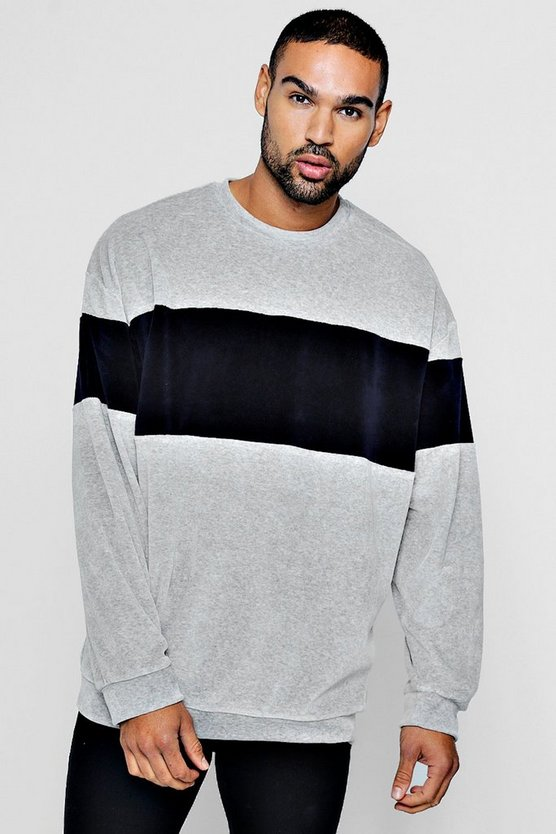 Grey Oversized Sweater With Towelling Colour Block