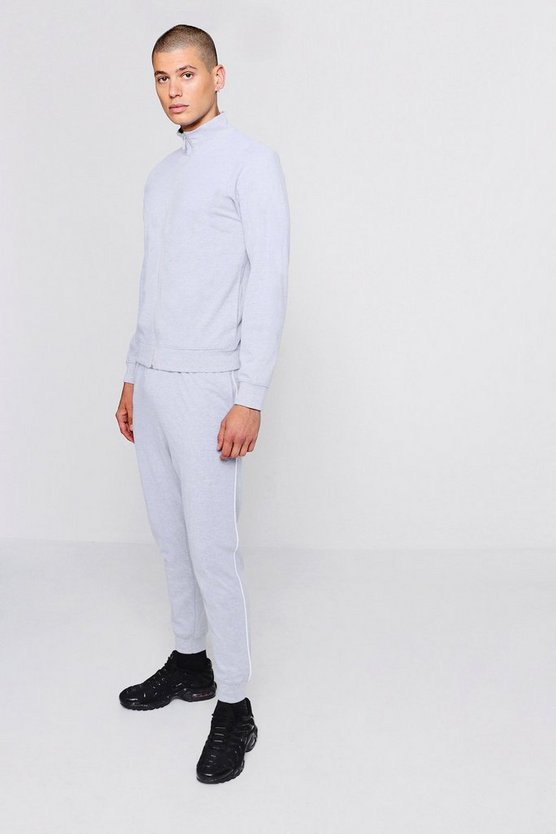 Grey Funnel Neck Tracksuit With Contrast Piping