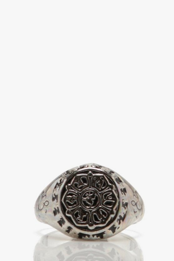 Silver Engraved Signet Ring