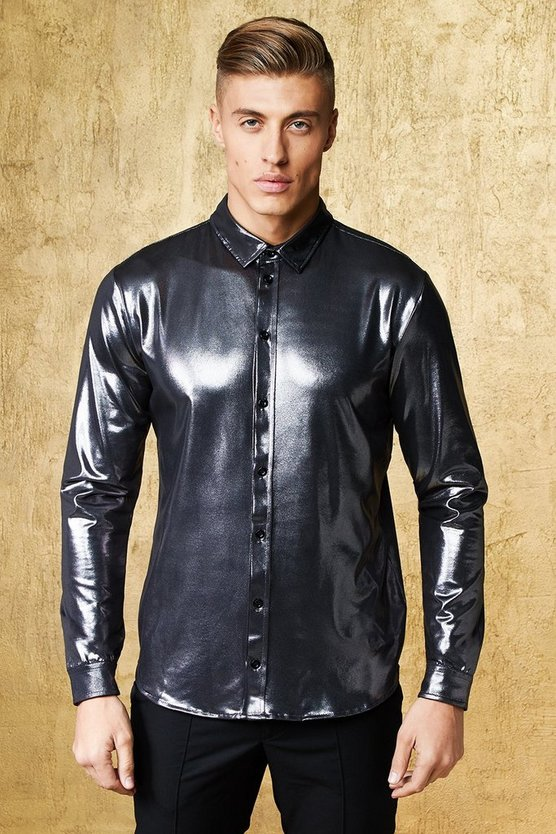 Pewter Slim Fit High Shine Long Sleeve Shirt