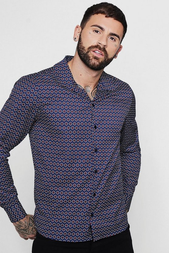 Navy Geo Print Long Sleeve Revere Shirt