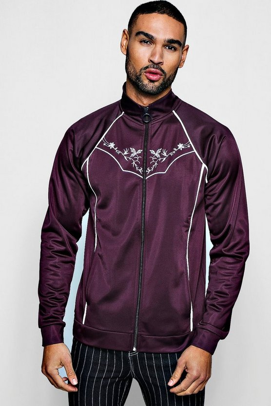 Wine Tricot Piped Embroidered Track Top