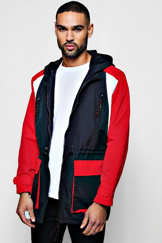 Red Longline Fleece Lined Colour Block Windbreaker