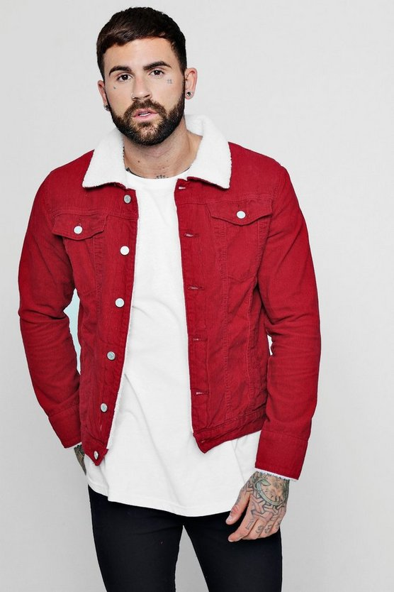 Mens Red Cord Jacket With Borg Collar
