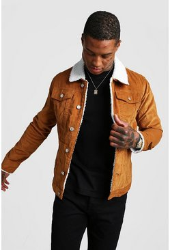 Tan Corduroy Jacket With Borg Collar