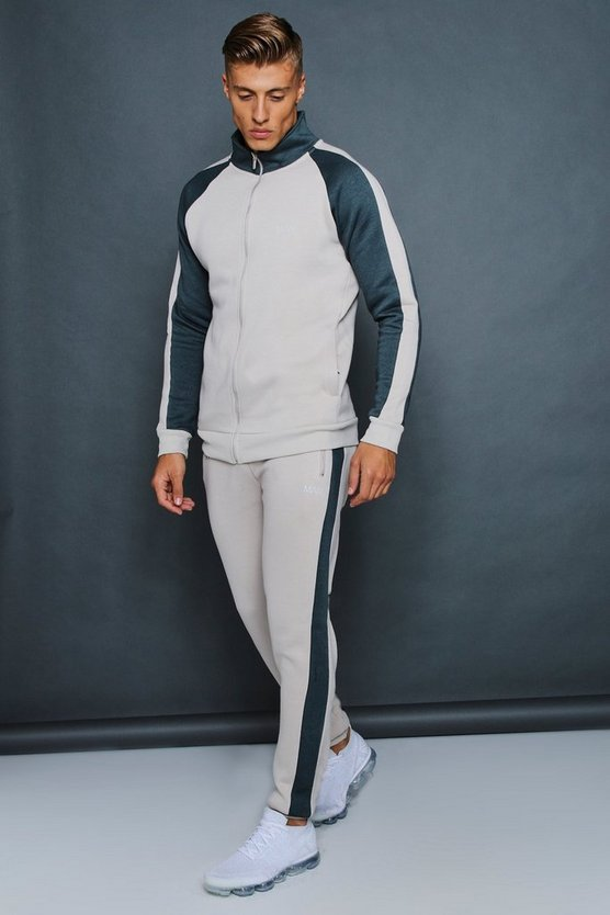 Mens Stone Skinny Fit Funnel Neck Contrast Panel Tracksuit