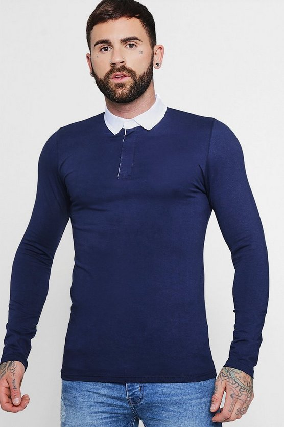 Navy Long Sleeve Rugby Polo In Muscle Fit