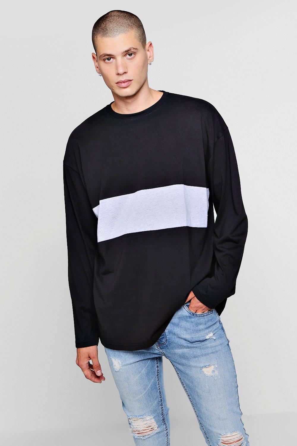 b0a58ea3f Mens Long Sleeve Oversized Colour Block T-Shirt. Hover to zoom