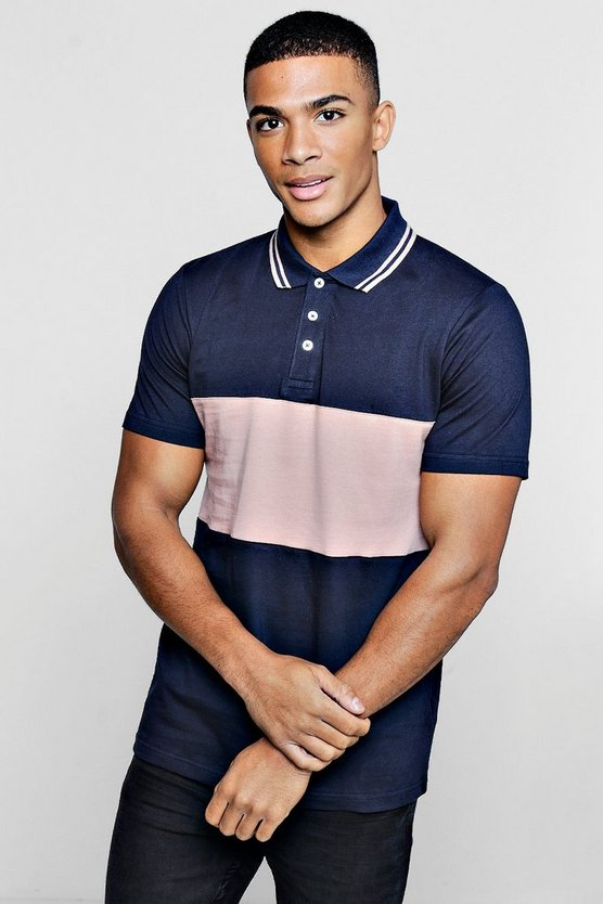 Mens Bark Short Sleeve Colour Block Polo With Tipping