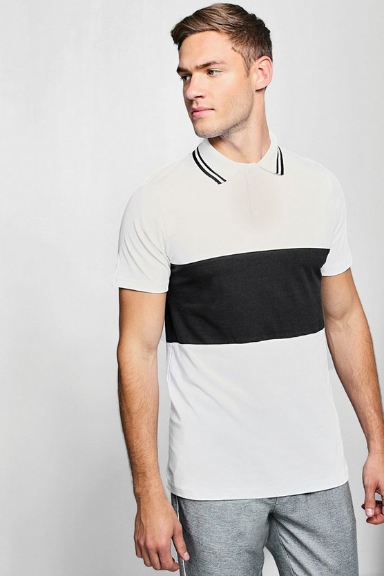 Mens White Short Sleeve Colour Block Polo With Tipping