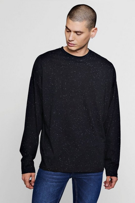 Black Long Sleeve Oversized Nepp T-Shirt