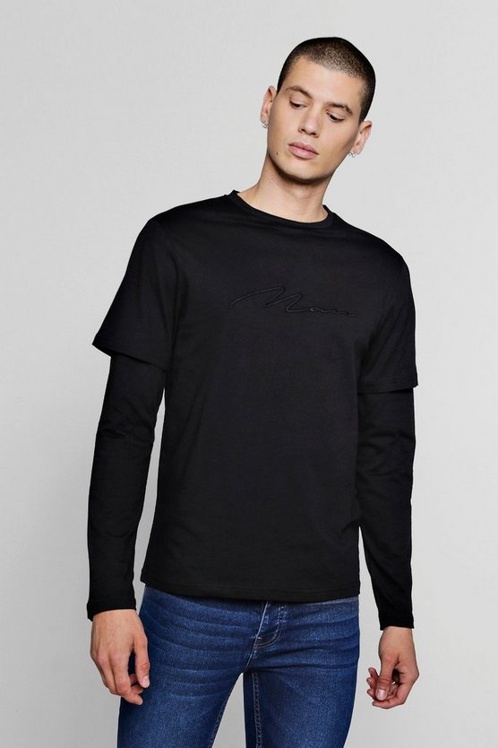 Black Faux Layer Man Signature T-Shirt