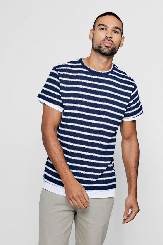 Navy Mock Hem Knitted Stripe T-Shirt