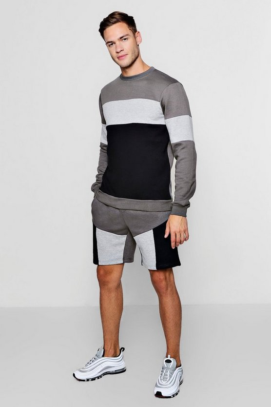 Dark grey Colour Block Sweater Short Tracksuit