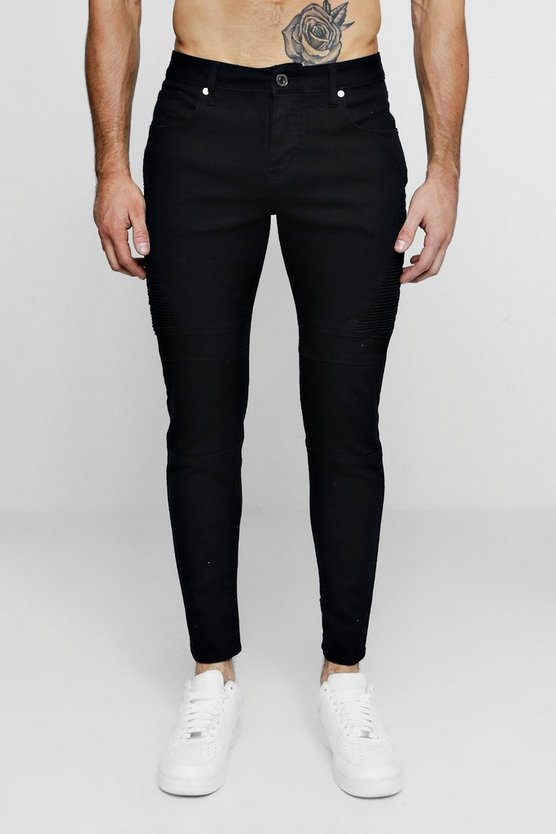 Mens Skinny Fit Black Biker Jeans