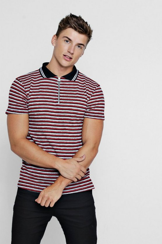 Red Knitted Stripe Polo With Zip