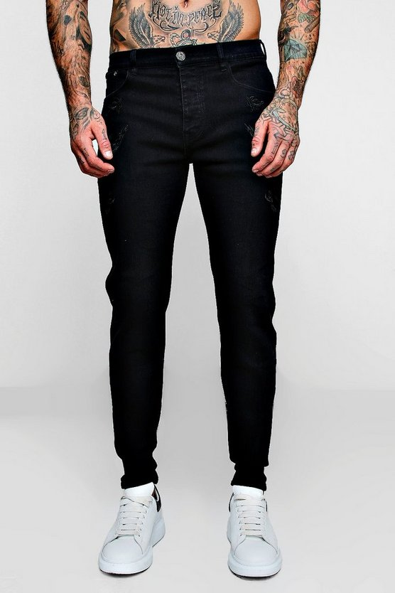 Washed black Skinny Fit Jeans With All Over Embroidery