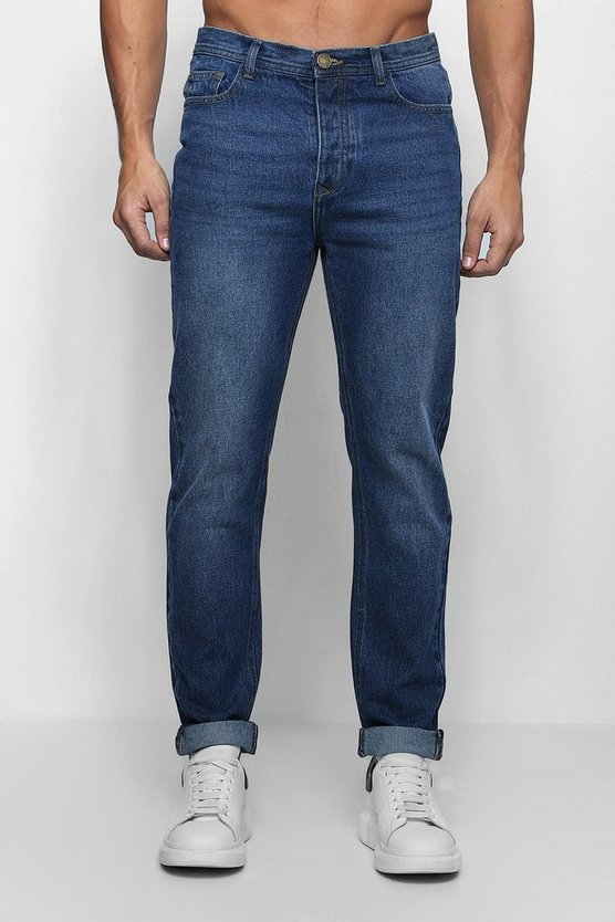 Mens Slim Fit Rigid Denim Jeans In Dark Blue