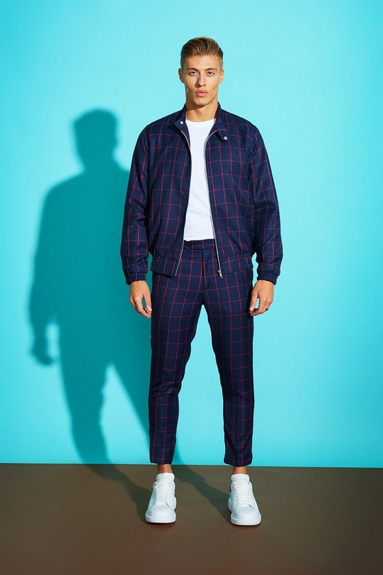 Navy Window Pane Check Skinny Cropped Trouser