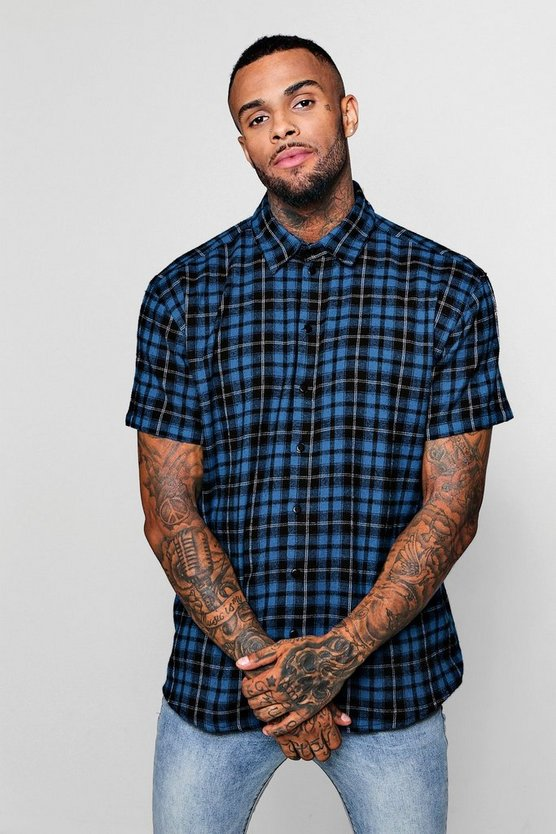 Blue Check Oversized Short Sleeve Shirt