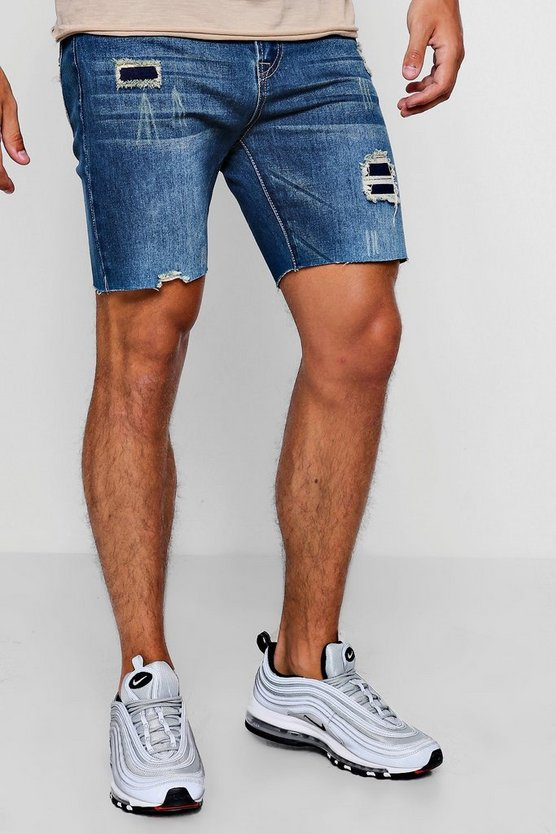 Blue Slim Fit Denim Shorts With Patchwork Distressing