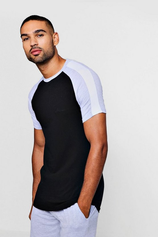 Black MAN Signature Muscle Fit Contrast Raglan T-Shirt