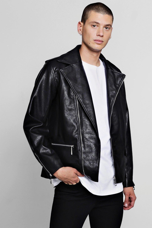 55016dc90 Faux Leather Biker Jacket - boohooMAN