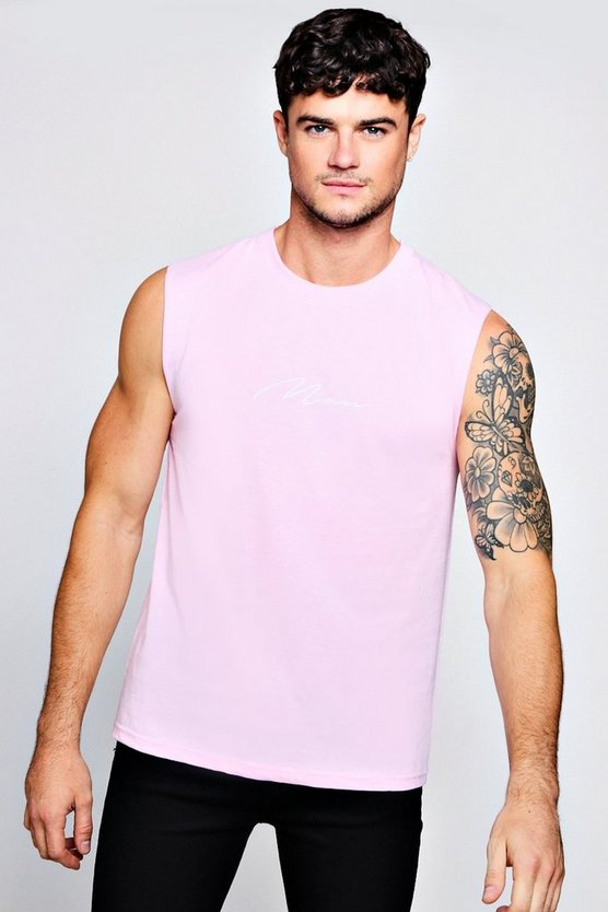 Light pink MAN Signature Embroidered Tank