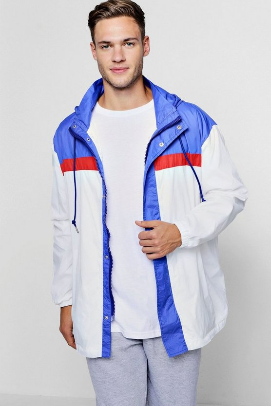 Mens White Colour Block Zip Through Cagoule