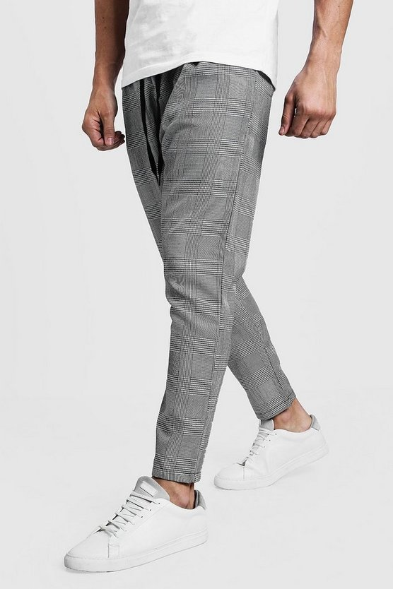 Mens Grey Woven Checked Jogger With Yellow Stripe