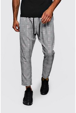 Mens Grey Woven Checked Jogger With Red Stripe