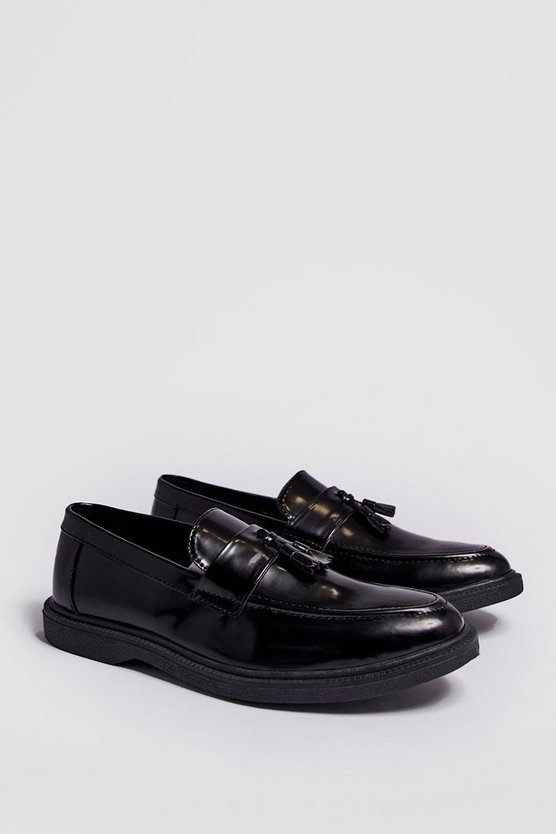 Black Faux Leather Heavy Soled Tassel Loafer