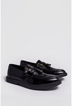 Mens Black Faux Leather Heavy Soled Tassel Loafer