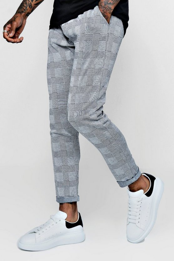 Grey Prince of Wales Check Jogger Trouser
