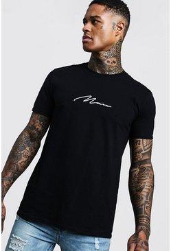 Black MAN Signature Embroidered T-Shirt